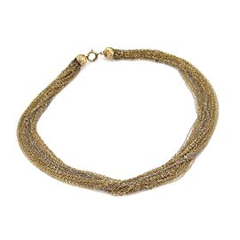 14k Two Tone Multi Strand Chain Necklace & Dangling Earring Set