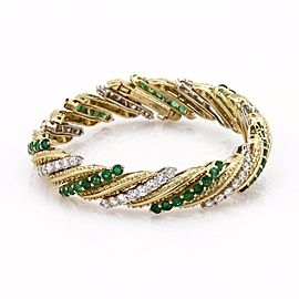 Hammerman Brothers 13ct Diamond & Emerald 18k Gold Long Fancy Long Bracelet