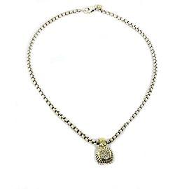 David Yurman Albion Diamond Sterling 18k Yellow Gold Cable Pendant & Chain