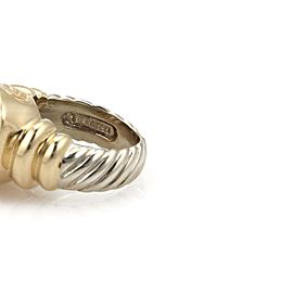David Yurman Rose Quartz Sterling & 14k Yellow Gold Cable Cocktail Ring Size 4.5