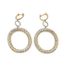 Modern 2.00ct Diamond 14k Two Tone Gold Large Dangling Oval Hoop Earrings