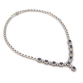Estate 7.40ct Diamond Sapphire 14k White Gold Fancy Floral Necklace