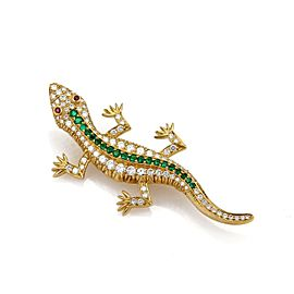 Estate 2.10ct Diamond Emerald & Ruby 3D 18k Yellow Gold Lizard Brooch Pin