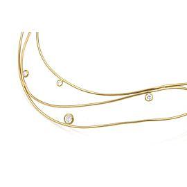 Tiffany & Co. Peretti Wave Diamond 18k Yellow Gold 3 Wire Necklace