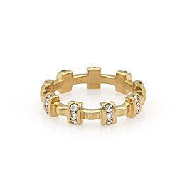 Chanel Diamond 18k Yellow Gold Fancy Cross Bar Band Ring Size 5.25