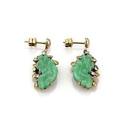 Vintage Diamond & Jade 14k Yellow Gold Carved Floral Drop Dangle Earrings
