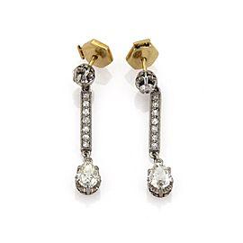 1.50ct Diamond Platinum 18k YGold Drop Dangle Earrings