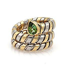 Bulgari Bulgari Tubogas 1ct Green Tourmaline 18k Gold Steel Wrap Band Ring Size 6