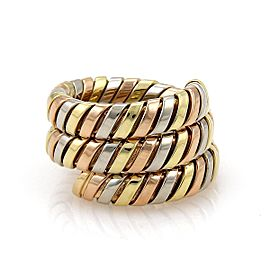 Bvlgari Bulgari Tubogas 18k Tricolor Gold Wrap Band Ring Size 4.5