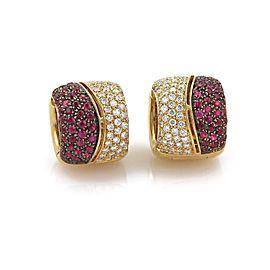 18k Yellow Gold 5.12ctw Diamonds & Rubies Wide Huggie Earrings