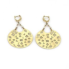Vintage Pearls 14k Yellow Gold Floral Stencil Large Disc Dangle Earrings