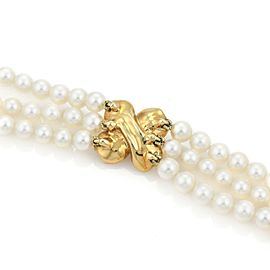 Tiffany & Co Diamond 18k Yellow Gold Dogwood Flower 3 Strand Pearl Necklace