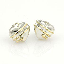 Tiffany & Co. Cupid's Arrow Sterling 18k YGold Hearts Clip On Earrings
