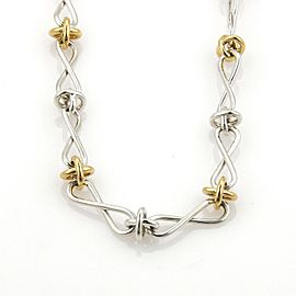 Tiffany & Co Picasso Sterling 18k Yellow Gold Long Twist & X Link Necklace