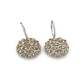 New 5.81ct White & Fancy Yellow Diamond 14k White Gold Dangle Earrings