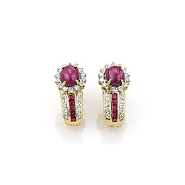 Estate 4.30ct Diamond & Ruby 18k Yellow Gold Post Clip Earrings