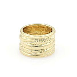 David Yurman 18k Yellow Gold 5 Rows Wide Fancy Band Ring Size 6
