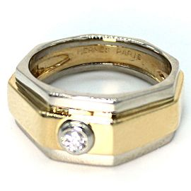 Hermes Diamond 18k Two Tone Gold Octagon Design Band Ring Size 5