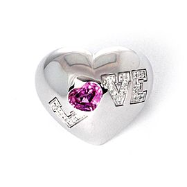 Chopard LOVE Diamond Pink Sapphire 18k Wide Gold Dome Heart Ring Size 5