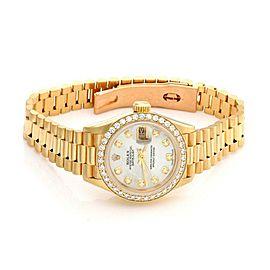 Rolex Oyster Date Just President 1.00ct Diamond 18k YGold Ladies Wrist Watch
