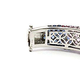 Modern Diamond Saphire Tsavorite 18k White Gold Fancy Bracelet & Ring Set