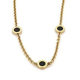Bvlgari Bulgari Onyx 18k Yellow Gold 3 Circle Station Chain Necklace