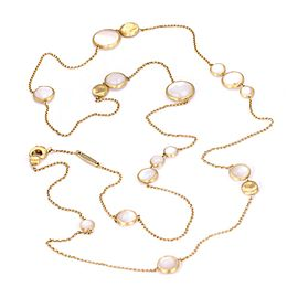 """Marco Bicego 18k Yellow Gold Mother of Pearl Circle Station Chain Necklace 36"""" L"""
