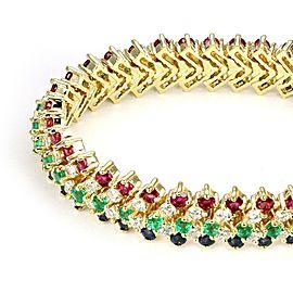 Estate 19.65ct Diamond & Gems 18k Yellow Gold 12mm Wide Flex Link Bracelet