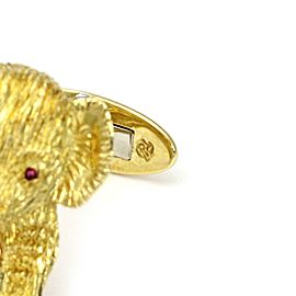 18k Yellow Gold Ruby 3D Elephant Stud Cufflinks