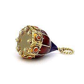 18k Gold Rare Vintage Collectible Multicolor Enamel Etruscan CoralCharm Pendant