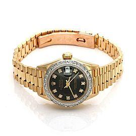Rolex Oyster Diamond Dial & Bezel 18k Gold Automatic Ladies Watch 69178