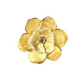 Carrera y Carrera Clear Quartz 18k Yellow Gold Large Flower Ring Size 7.75