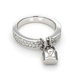 Louis Vuitton Diamond 18k White Gold Logo Drop Charm Padlock Ring Size 4.5