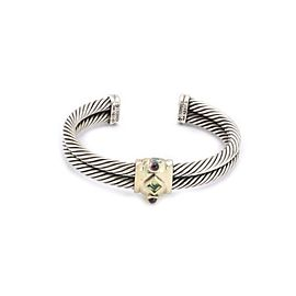 David Yurman Gems Sterling Silver 14k Gold Double Cable Band Cuff Bracelet