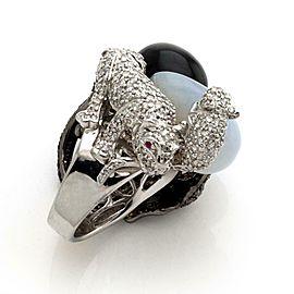 Estate 2.25ct Diamonds & Gems 18k White Rhodium Gold Animal Ring