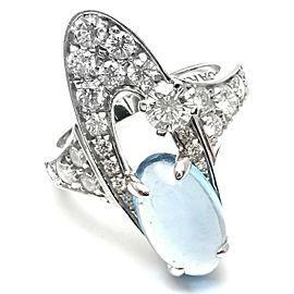 Authentic Bvlgari Bulgari Elysia 18k White Gold Diamond Blue Topaz Ring