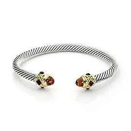 David Yurman Citrine Tourmaline 925 Silver 14k Gold Cable Cuff Bracelet