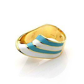 18k Yellow Gold Blue & White Enamel Wide Ribbon Twist Top Ring Size