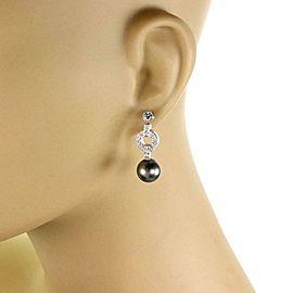 Cartier Himalia Diamond Pearls 18k White Gold Dangle Earrings W/Paper