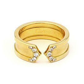 Cartier Double C Diamond 18k Yellow Gold 6.5mm Band Ring Size 3.5