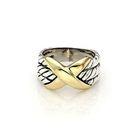 David Yurman Sterling Silver 14k Yellow Gold X Design 3 Cable Band Ring