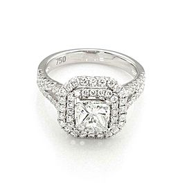 Princess & Round Cut 2.29ct Diamond 18k White Gold Engagement Ring GIA Cert