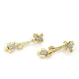 Diamond 18k Two Tone Gold Textured Drop Dangle Clip On Earrings