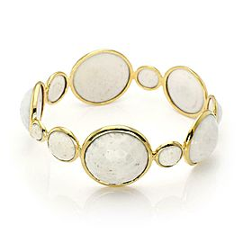 Ippolita Rock Candy Lollipop 18k YGold White Agate Gems Bangle Bracelet