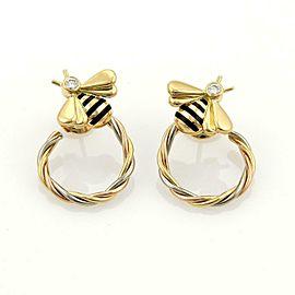 Cartier Diamond Enamel 18k Tricolor Gold Honey Bee Hoop Earrings