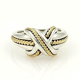 Tiffany & Co. Sterling 18k Yellow Gold X Crossover Ring Size - 4.25