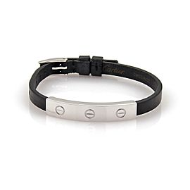 Cartier Love 18k White Gold Long Slide Bar Black Leather Bracelet