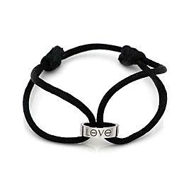 Cartier Love 18k White Gold Ring Charm Black Cord Charity Bracelet