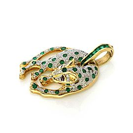 18k Gold 2.80ct Diamond Emerald & Ruby 3D Panther Pendant