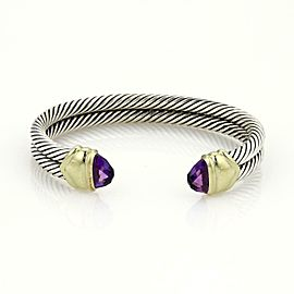 David Yurman Ametyst 925 Silver 14k Gold Double Cable Band Cuff Bracelet
